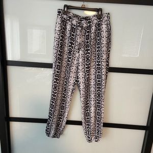 Snakeskin silky high rise ankle joggers